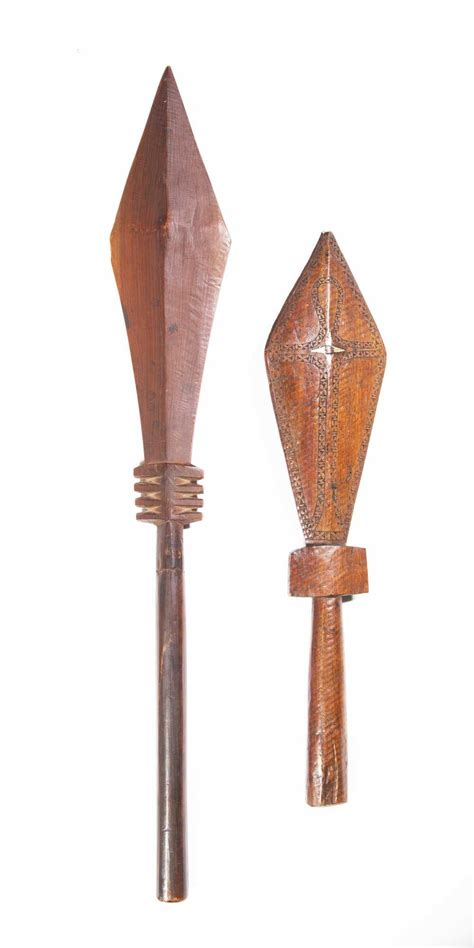 Two Carved Wooden Samoan War Clubs