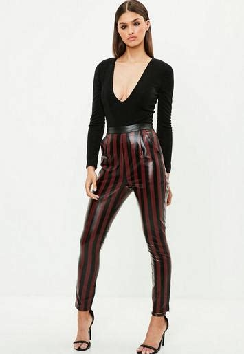 Burgundy Striped Faux Leather Slim Leg Pants   Missguided