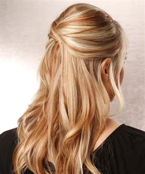 Long Straight Blonde Half Up Hairstyle with Side Swept