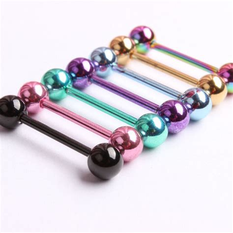 7pc 14G Surgical Steel Mixed Colour Barbell Bar Tongue