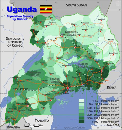 Uganda Country data, links and map by administrative structure