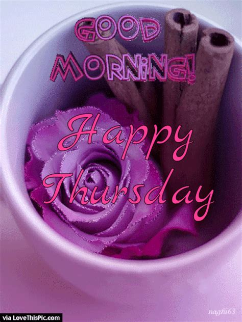 Good Morning Happy Thursday Flowers Gif Quote Pictures
