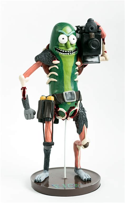 Pickle Rick made of polymer clay (back side and source in