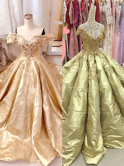 Shiny gold off the shoulder poofy satin ball gown wedding
