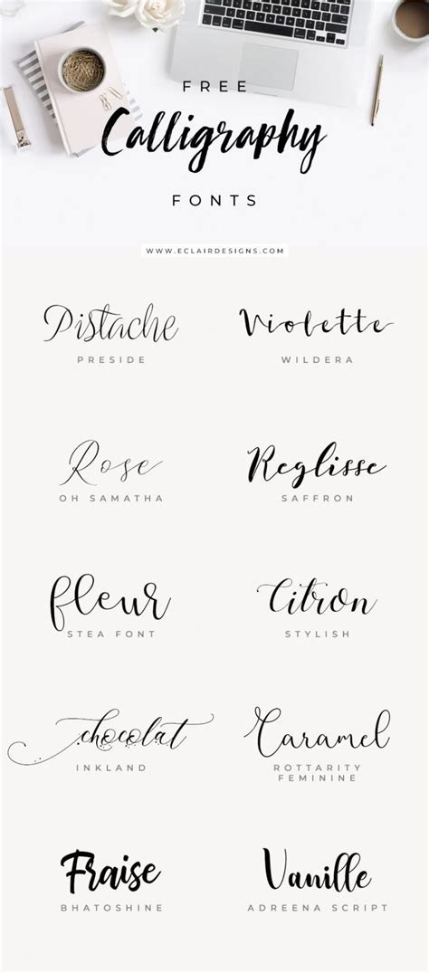 Eclair Designs 10 FREE CALLIGRAPHY FONTS | Lettering, Free