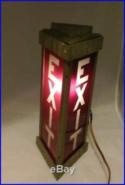 Vintage Antique Art Deco Triangle Lighted Exit Sign