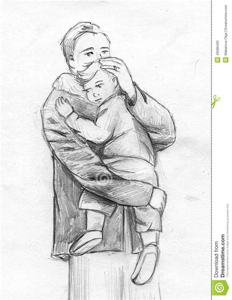 Father And Child Pencil Sketch Stock Illustration - Image