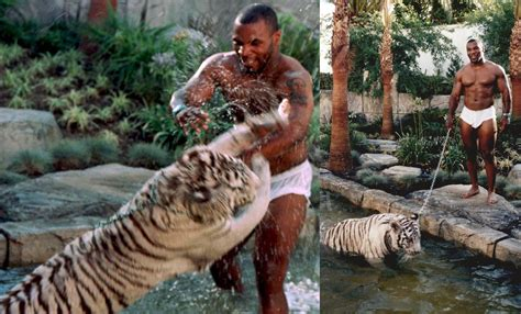 Mike Tyson at home with his pet Tiger, 1996