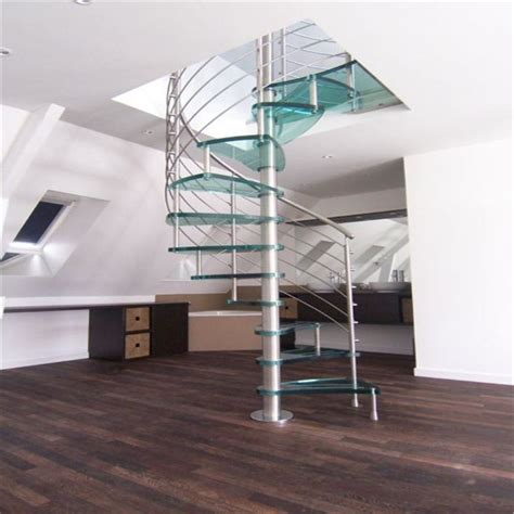 3 Layers Laminated Glass Step Decorative Spiral Staircase