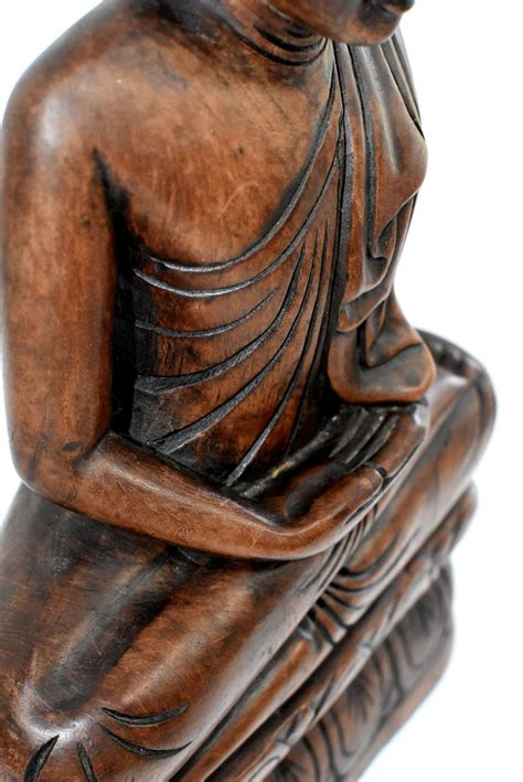 Wooden Burmese Buddha, Hand Carved, Large For Sale at 1stdibs