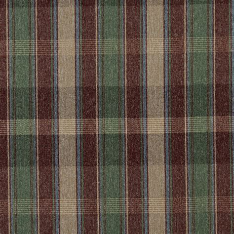 Jewel Beige Green and Burgundy Country Lodge Cabin Plaid