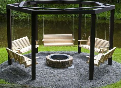 Swinging Benches Around a Fire Pit - Amazing DIY, Interior