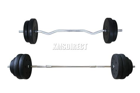 FoxHunter Curl Bar Barbell Set Weight Lifting Gym Triceps