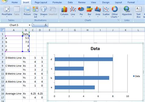 Step-by-Step Horizontal Bar Chart with Vertical Lines
