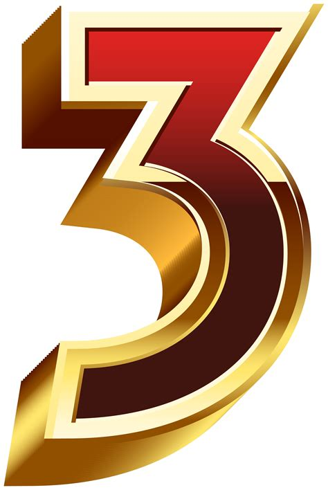 Three Gold Red Number PNG Clip Art   Gallery Yopriceville