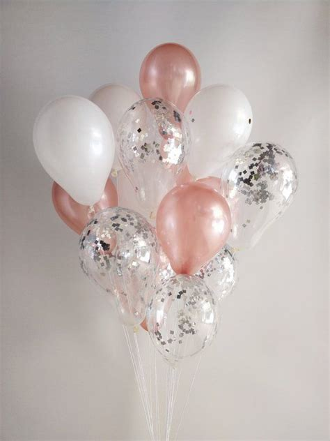 Rose Gold White Silver Confetti Rose Gold Balloons