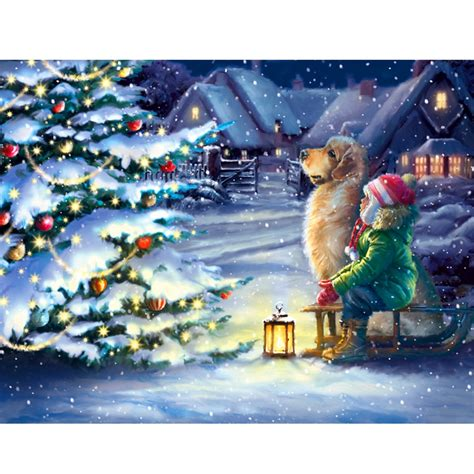 Christmas Tree Dogs and Children at Night 5D Diamond