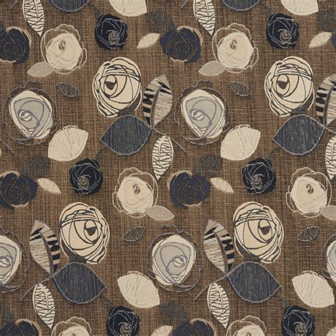 Slate Beige and Grey Flower Bloom Damask Upholstery Fabric