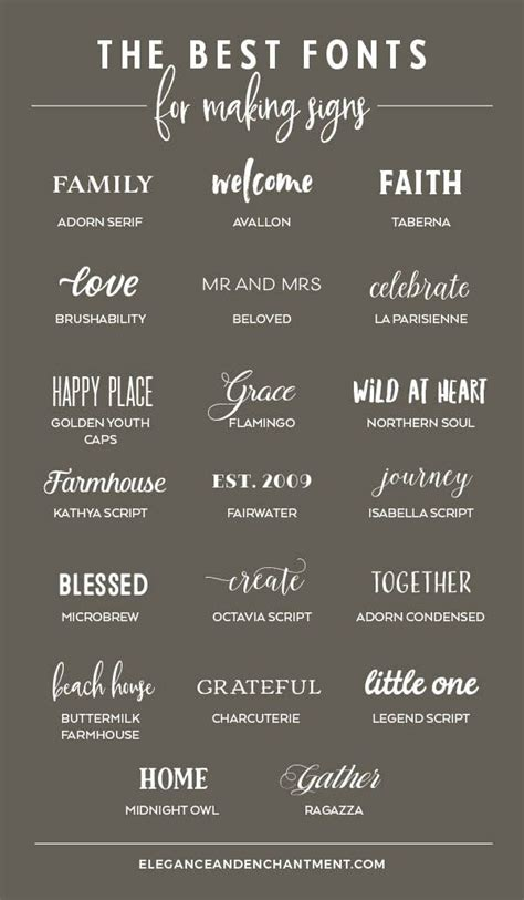 The Best Fonts for Making Signs - Elegance & Enchantment